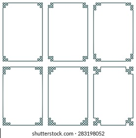 Collection of six celtic frames, vector illustration