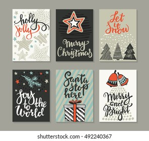 Collection of six Christmas cards. Greeting card set with hand drawn xmas tree, presents, stars, bells. Includes holiday handwritten lettering. Posters set. Colorful vector illustration