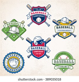 Collection of six colorful Vector Baseball logo and insignias