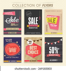 Collection of six creative Sale Flyers, can be used as poster or banner design.