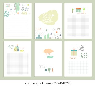 Collection of six cute universal card or invitations. Wedding, marriage, anniversary, birthday, Valentin's day. Stylish simple design and gentle colors
