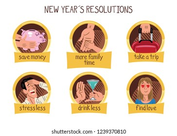 Collection of six designs and illustrations about new year´s resolutions.