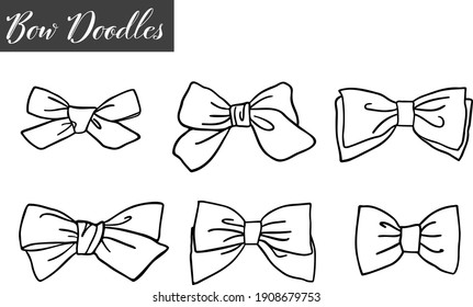 Collection of six doodled bows outline vector graphics without background.