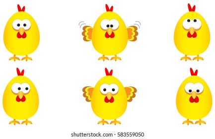 collection of six funny yellow easter chickens with several expressions, vector illustration