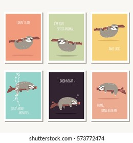 Collection of six greeting cards with cute sloth and text message, vector illustration