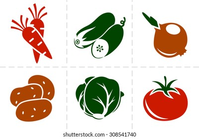 Collection of six simple vector vegetables icons.
