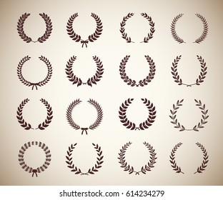 Collection of sixteen circular vintage laurel wreaths. Can be used as design elements in heraldry on an award certificate manuscript and to symbolise victory illustration in silhouette