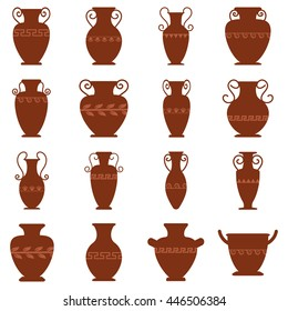Collection of sixteen logos with antiquity urns. Vector ancient greek vases set in traditional colors. Amphora symbol