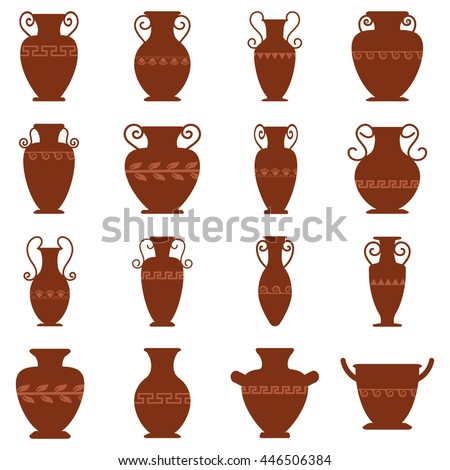 Collection Sixteen Logos Antiquity Urns Vector Stock Vector Royalty
