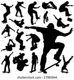 collection of skateboarding vector