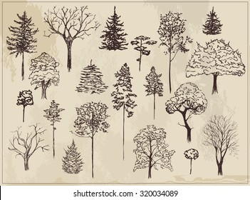 Collection of sketch ink trees