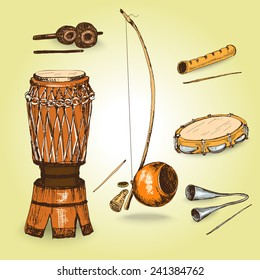 Collection of sketch musical instruments of capoeira. Hand drawn illustrations.
