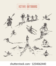 Collection of sketches of outdoors activity, rowing, riding, hiking, hand drawn vector illustration