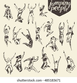 Collection of sketches of silhouettes of jumping persons, hand drawn vector illustration