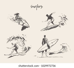 Collection of sketches of the surfers, hand drawn vector illustration