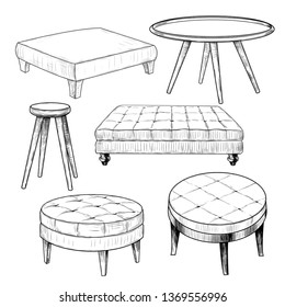 A collection of sketches of various coffee tables.  Hand-drawn vector  illustration in vintage style. Isolated design elements. Clipart.