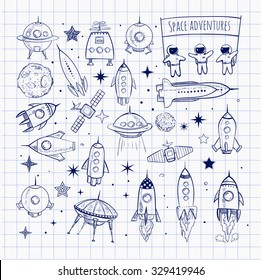 Collection of sketchy space objects isolated on squared paper background. Space ships, rockets, space shuttle, planets, flying saucers, astronauts etc.