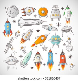 Simple Spaceship Drawing For Kids
