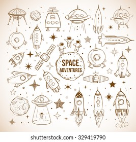 Collection of sketchy space objects on vintage background. Space ships, rockets, space shuttle, planets, flying saucers, astronauts etc.