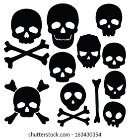 Collection of skulls isolated on white (vector illustration)