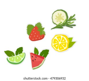Collection of sliced fruits and berries (lemon, lime, strawberry, cucumber, watermelon with mint) icons set, colorful, isolated on white background, vector illustration