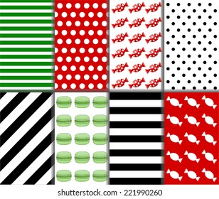 Collection of small polka dot and diagonal stripes patterns in red, black, green and white color. Set of eight seamless abstract colorful candy pattern. Vector art image illustration background