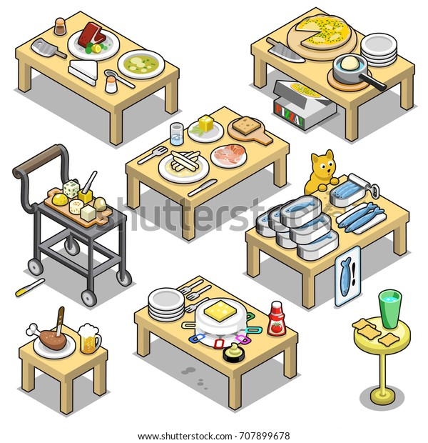Collection of small tables for any pick-nick garden party, with cheese, soup, meat, beer, asparagus, sardines, chicken leg and cocktail (isometric items)