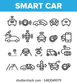 Collection Smart Car Elements Icons Set Vector Thin Line. Intelligence Control And Security, Network Navigation And Autopilot Smart Car Devices Linear Pictograms. Monochrome Contour Illustrations