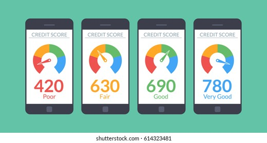 Collection smartphones with credit score app on the screen in flat style. Financial information about the client. Vector illustration isolated on white background.