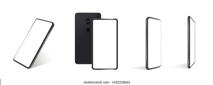 A collection of smartphones at different angles. Vector mockups. Collection mobile phones isolated on white background.  Mockup generic device. Vector smartphones set. 3D realistic phones, template