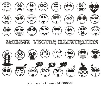 Collection of smiles. Smiley. Black and white smileys on a white background. Vector illustration.