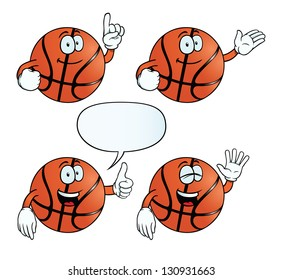 Collection of smiling basketballs with various gestures.