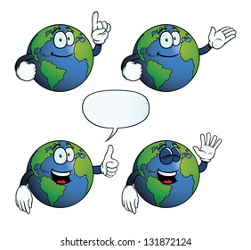 Collection of smiling Earth globes with various gestures.