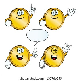 Collection of smiling golden coins with various gestures.