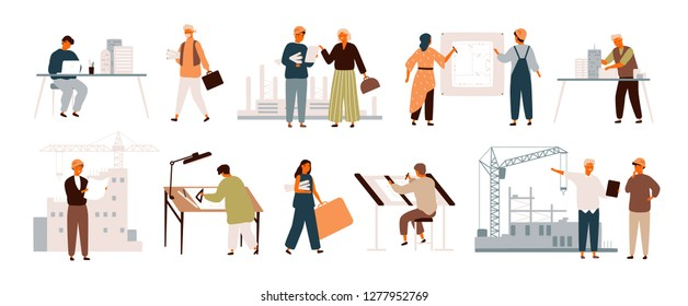 Collection of smiling male and female architects and construction engineers working on architecture project. Profession, occupation or job set. Colorful vector illustration in flat cartoon style.