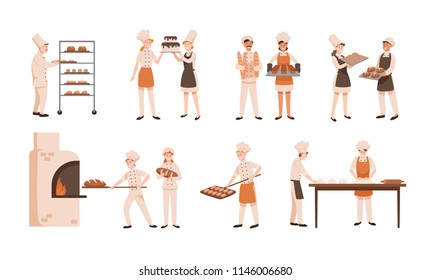 Collection of smiling men and women baking bread and making confections isolated on white background. Bundle of male and female bakers and confectioners. Flat cartoon colorful vector illustration