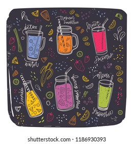 Collection of smoothies in glasses, bottles, jars and jugs with straw surrounded by exotic fruit slices and berries. Set of healthy fresh tasty drinks. Colorful hand drawn vector illustration.