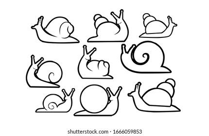 collection of snail outline  logo icon designs vector