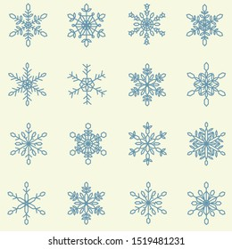 collection of snow flake for decorate in Chirstmas