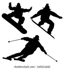 Collection. Snowboarders And A Skier. Vector