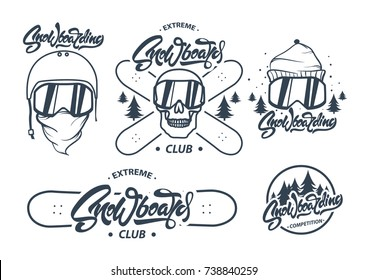 Collection of snowboarding logos. Snowboard Lettering  and labels.Winter outdoor activity emblems and symbols in retro style. Extreme sport