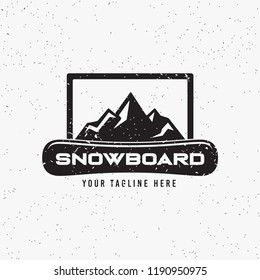 Collection of snowboarding logos. Winter outdoor activity emblems and symbols in retro style. Extreme sport.