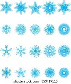 collection of snowflakes (decorative snowflake winter set, blue snowflakes)