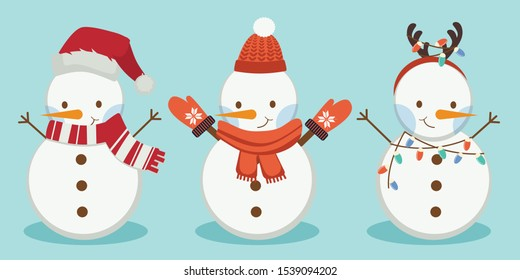 The collection of snowman wear a winter hat and scarf and drre horn on the blue background. The cute snowman wear winter glove and have a color bulb on the blue background. The character of snowman.