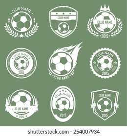 Collection of soccer emblems retro style with green background
