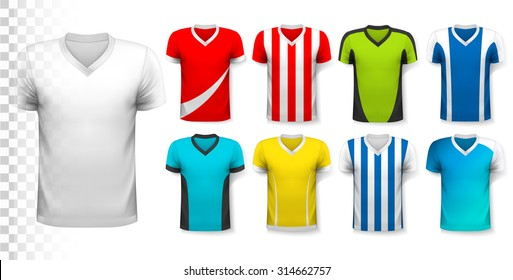 Collection of soccer jerseys with an editable template for your own design. Vector.