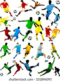 collection of soccer players in different positions (vector);