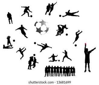 collection of soccer silhouettes