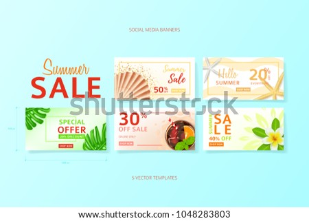 cdb222a1ba Collection of social media banners for summer sale. Vector illustration  with realistic tropical summer fruit