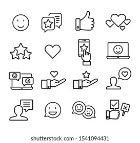 Collection of social media icons and emoticons symbolizing social interaction and giving likes, thumbs up buttons